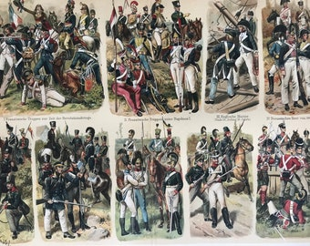 1897 Historical Military Uniforms Large Original Antique Lithograph - Available Mounted and Matted - Military Decor