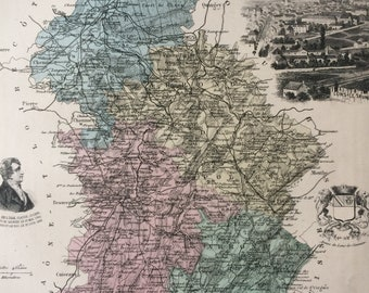 1890 Jura Large Original Antique Map - Department of France - Inset Steel Engravings of Lons Le Saunier and Local Dignitary Portraits