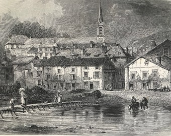1876 The Town of Bouillon Original Antique Wood Engraving - Mounted and Matted - Belgium - Landscape - Available Framed