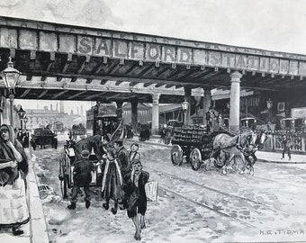 1894 Salford Railway Station, New Bailey Street Original Antique Print - Manchester - Mounted and Matted - Available Framed