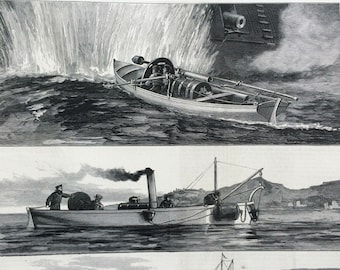 1877 Illustrations of Torpedo Warfare antique print from engraving, Illustrated London News, 19th Century History, Victorian Art, Wall Decor