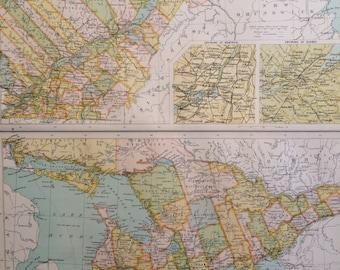 1898 ONTARIO & QUEBEC CANADA Large Original Antique Map, 14 x 18.5 inches, historical wall decor, Bartholomew map, Home Decor, Cartography