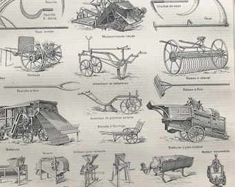 1897 Agricultural Equipment Original Antique Print - Machinery - Contracting - Plough - Mounted and Matted - Available Framed