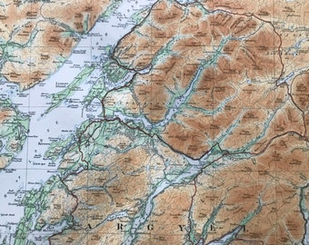 1924 Perthshire, Argyll, Isle of Mull, Hebrides Original Antique Ordnance Survey Panorama Map - Scotland - Cartography - Geography