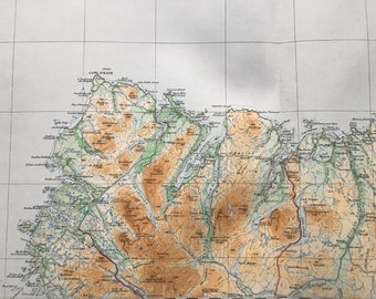 1924 Caithness Original Antique Ordnance Survey Panorama Map - Scotland - Cartography - Geography