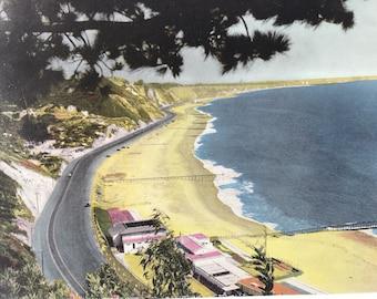 1945 The Roosevelt Highway skirts the Pacific Ocean north of Santa Monica Original Vintage Photo Print - California - Retro Decor