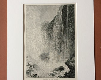 1895 The Cave of the Winds Original Antique Wood Engraving - Mounted and Matted - Niagara Falls - Waterfall - Available Framed