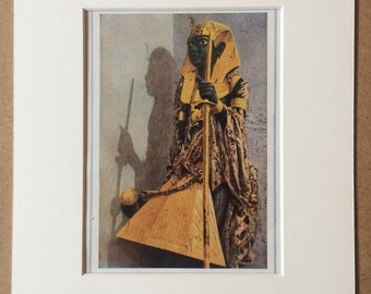 1940s Egyptian Art Original Vintage Print - Mounted and Matted - Tutankhamen - Egypt - Statue - Available Framed