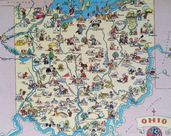 1935 Ohio Original Vintage Cartoon Map - Ruth Taylor - Mounted and Matted - Whimsical Map - United States