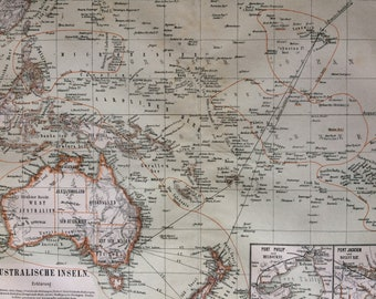 1874 Australasia - Oceania Large Original Antique Map with inset maps of Port Philip and Port Jackson - Available Mounted and Matted
