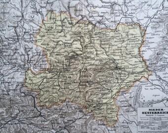 1880 AUSTRIA (Lower) original antique map, cartography, geography, wall decor, home decor