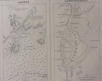 1871 Ports in Ireland North and West Coasts Original Antique Map - Portrush - Mullaghmore - Galway - Londonderry - Sligo - Irish History