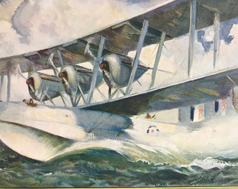 1927 A Blackburn 'Iris' Original Vintage Print - Aircraft - Airplane - Mounted and Matted - Available Framed