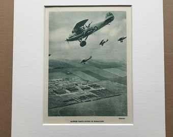 1940 Hawker Harts diving in Formation Original Vintage Print - Mounted and Matted - Aircraft - Airplane - R.A.F. - Available Framed