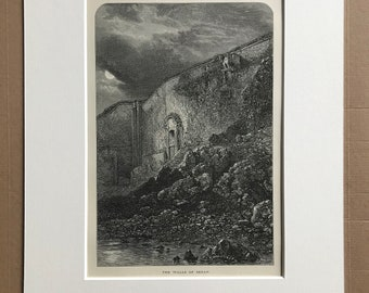 1876 The Walls of Sedan Original Antique Wood Engraving - Mounted and Matted - France - Landscape - Available Framed