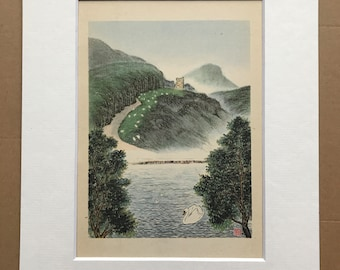 1948 Edinburgh - St Anthony's Chapel and St Margaret's Loch Original Vintage Chiang Yee Illustration - Mounted and matted - Available Framed