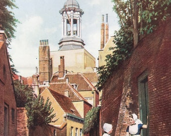 1940s A Quiet Corner of the Low Countries Original Vintage Print - Middleburg, Zeeland - Holland - Mounted and Matted - Available Framed