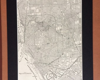 1937 BUFFALO Original Vintage City Plan Map, 11 x 14 inches, Rand McNally, New York - Available Mounted and Matted