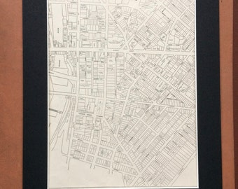 1937 ROCHESTER NY (Business Center) Original Vintage City Plan Map, 11 x 14 inches, Rand McNally, Home Decor, Cartography, Geography