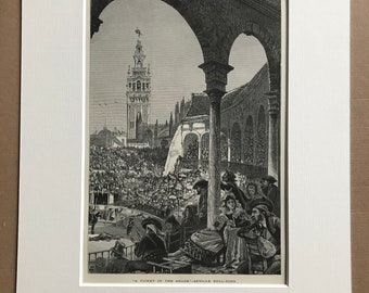 1876 Seville Bull Ring - 'A Ticket in the Shade' Original Antique Wood Engraving - Mounted and Matted - Spain - Available Framed