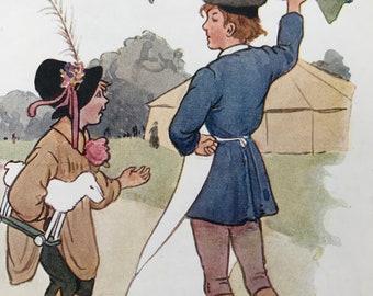 1917 Simple Simon Original Vintage Margaret W. Tarrant Illustration - Matted and Available Framed - Nursery Rhyme