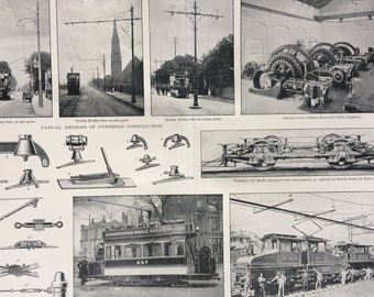 1900 Electric Traction Original Antique Print - 12 x 10 inches - Locomotive - Trolley - Car - Victorian Art