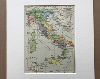1924 Italy up to the time of Emperor Augustus Original Antique Map - Mounted and Matted - Ancient Rome - Classics - Available Framed