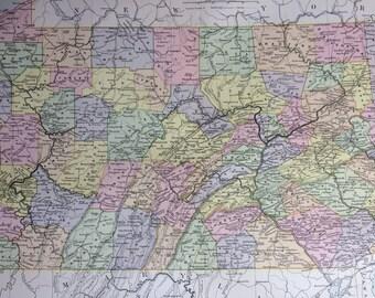 1875 PENNSYLVANIA large original antique map, cartography, geography, wall decor, home decor, encyclopaedia britannica