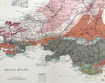 1913 South Wales Original Antique Small Geological Map - UK County Map - Geology - Available Framed