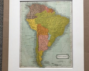 1863 South America Original Antique Map - Patagonia - La Plata - Brazil, Chile, Colombia, Peru - Vintage Wall Map - Available Framed