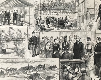 1883 Opening of the Homes for Little Boys at Swanley Original Antique Print - Mounted and Matted - Available Framed