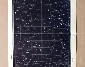1958 Original Vintage Star Map for epoch 1950 - 9.5 x 14.5 inches - astrology, astronomy, stars, zodiac, constellations, star-gazing, planet