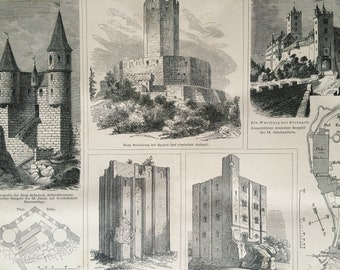 1875 Castles Large Original Antique print - Available Mounted and Matted - Architecture - Victorian Decor