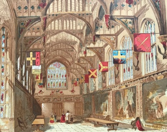 1846 Wolsey's Hall, Hampton Court Original Antique Print - Mounted and Matted - Available Framed
