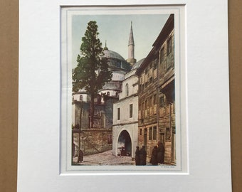 1940s Great Mosque, Uskudar (Skutari) Original Vintage Print - Turkey - Biyuk Jami - Mounted and Matted - Available Framed