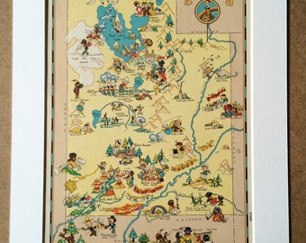 1935 Utah Original Vintage Cartoon Map - Ruth Taylor - Mounted and Matted - Whimsical Map - United States