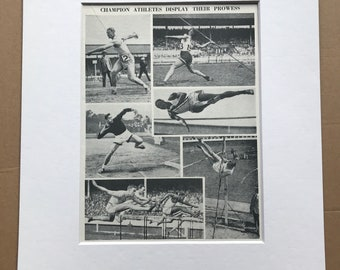 1940s Champion Athletes display their prowess Original Vintage Print - Sports - Athletics - Mounted and Matted - Available Framed