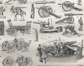 1897 Artillery Original Antique Print - Military Decor - Cannon - Mounted and Matted - Available Framed