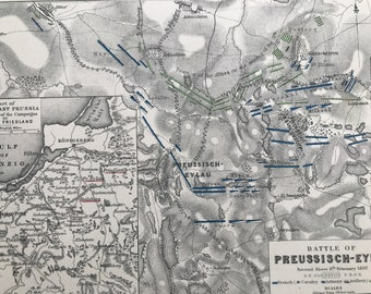 1875 Battle of Preussisch-Eylau 8th Feb 1807 Original Antique Map - Napoleonic Wars - Battle Map - Military History - Available Framed