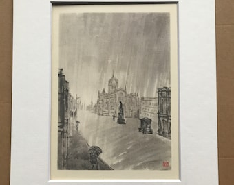 1948 Edinburgh - St Giles' in the Rain Original Vintage Chiang Yee Illustration - Scotland - Mounted and matted - Available Framed