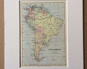1895 South America Original Antique World Map - Mounted and Matted - 8 x 10 inches - Framed Map - Framed Vintage Art