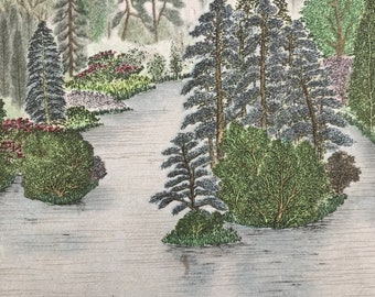 1948 Oxford - Peaceful Lake in Youlbury Ground Original Vintage Chiang Yee Illustration - Mounted and matted - Available Framed