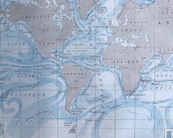1923 Ocean Currents Original Antique World Map - Mounted and Matted - Vintage Wall Decor - Oceanography - Available Framed