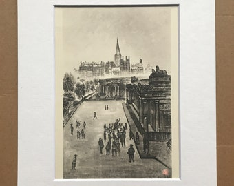 1948 Edinburgh - Public Speakers - Royal Scottish Academy Original Vintage Chiang Yee Illustration - Mounted and matted - Available Framed