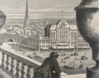 1895 Glance at Detroit, from the City Hall Original Antique Wood Engraving - Mounted and Matted - Decorative Art - Available Framed