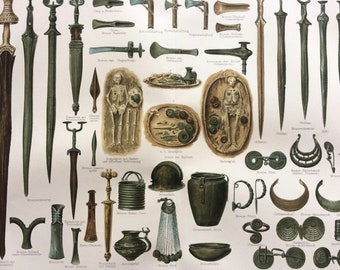 1897 Iron Age Culture Large Original Antique Lithograph - Available Mounted and Matted - Weapons, Ornaments, Architecture - Vintage Decor