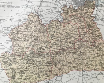 1875 Surrey Original Antique Map - UK County - England - Vintage Wall Map - Available Framed