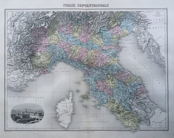 1892 ITALIE SEPTENTRIONALE original antique map, Nouvel Atlas Illustre, French atlas map, Geography, Cartography, Historical Map
