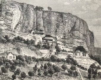 1895 Grottoes of Djoufout-Kaleh Original Antique Engraving - Mounted and Matted - Russia - Ukraine - Available Framed