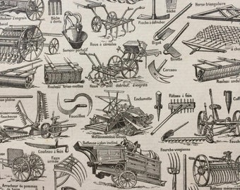 1923 Agriculture Original Antique Print - Mounted and Matted - Decorative Art - Wall Decor - Machinery - Tools - Farming